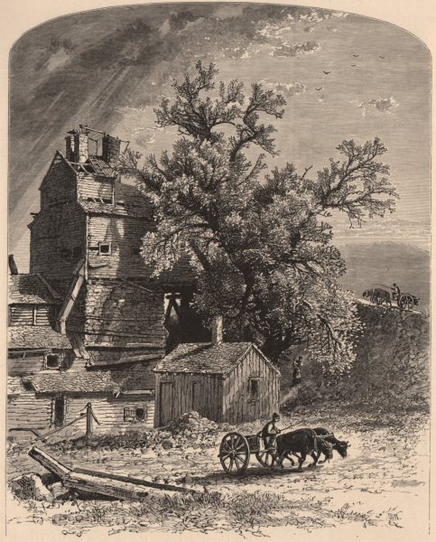 Associate Product CONNECTICUT. Old Furnace, at Kent plains. Horse & cart 1874 antique print