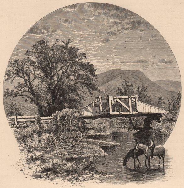 Associate Product CONNECTICUT. Old Bridge, Blackberry river, near Canaan. Horses 1874 print