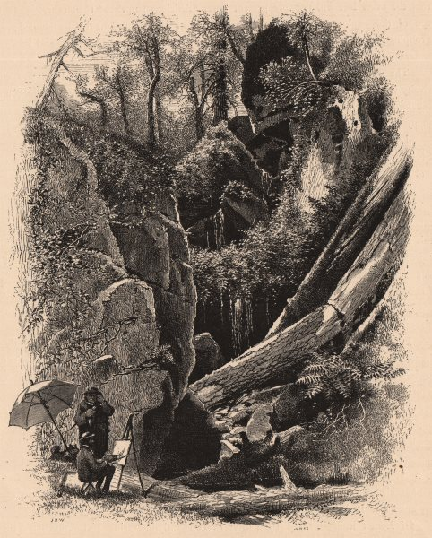 MASSACHUSETTS. Ice Glen, Stockbridge. Artist painting. Housatonic 1874 print