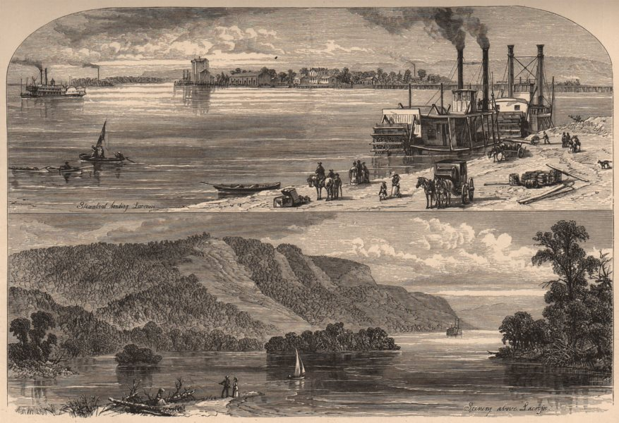 Associate Product LA CROSSE. View of the town & Mississippi scenery. Wisconsin 1874 old print