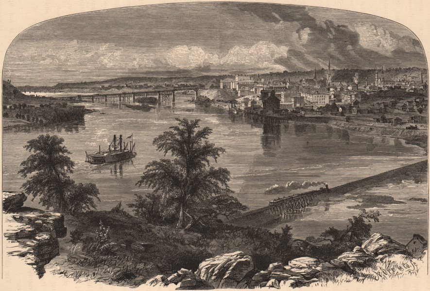 Associate Product ST PAUL, MINNESOTA. View from Dayton's Bluff. Paddle steamer 1874 old print