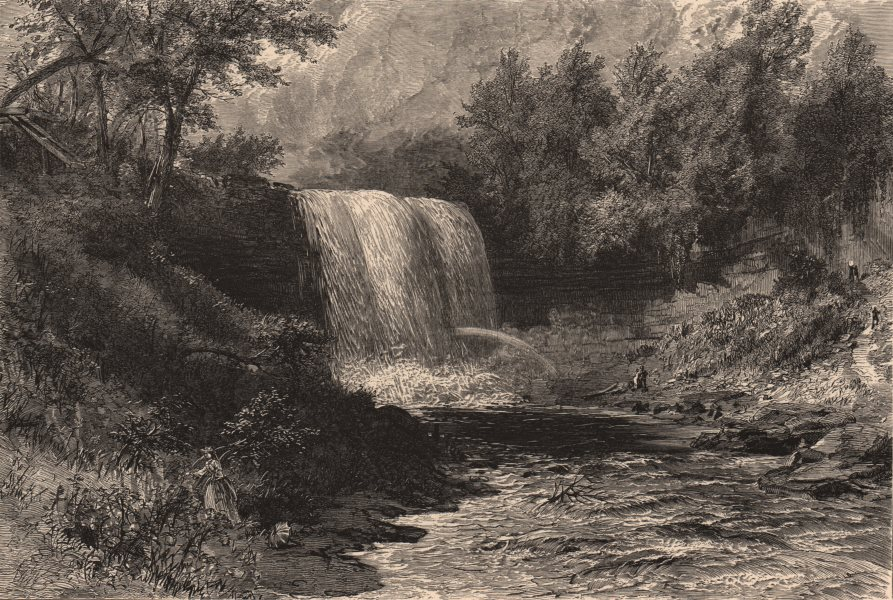 Associate Product MINNESOTA. Falls of Minnehaha. Mississippi river 1874 old antique print