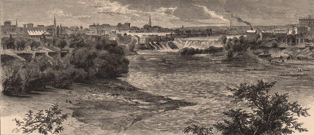 Associate Product MINNEAPOLIS. St. Anthony & falls. Minnesota. Mississippi river 1874 old print