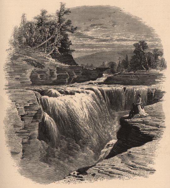 Associate Product GENESEE VALLEY. Lower Falls, Portage. New York State 1874 old antique print