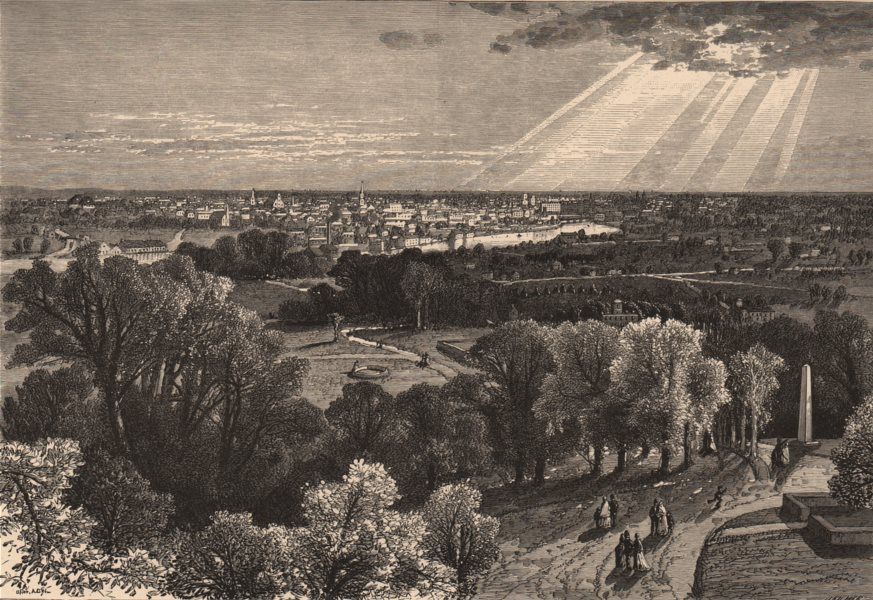 Associate Product ROCHESTER NY. View from Mount Hope Cemetery. Genesee Valley. New York State 1874