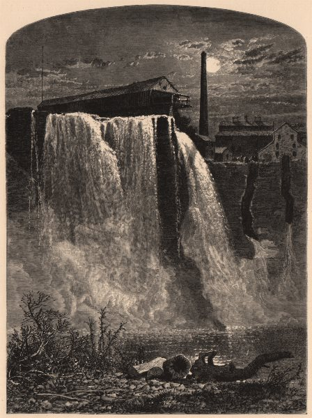 Associate Product ROCHESTER, NY. West Side, Upper Falls of the Genesee. New York State 1874