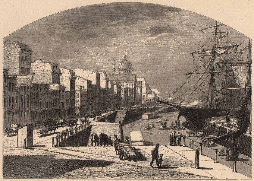 Associate Product MONTREAL. River-front. Sailing ships. Quebec Montréal Québec 1874 old print