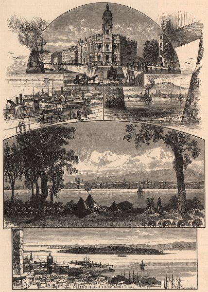 Associate Product MONTREAL. Custom House. View from/of Helens Island. Montréal Québec Quebec 1874
