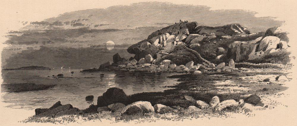 Associate Product MASSACHUSETTS. Bass Rocks, Gloucester 1874 old antique vintage print picture