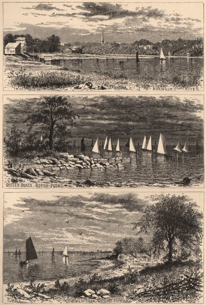 Associate Product CONNECTICUT. Norwalk. Oyster boats, Roton Point. Wilson's Point 1874 old print