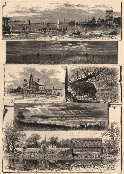 Associate Product CONNECTICUT. Scenes in Bridgeport, Stratford, and Milford 1874 old print
