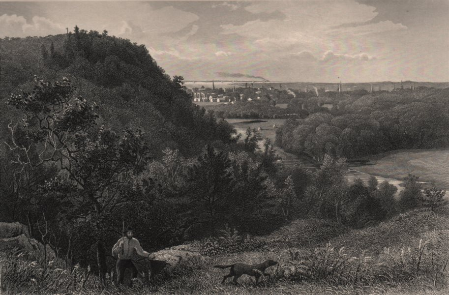 Associate Product NEW HAVEN. East Rock. Hunting with rifle & dog. Connecticut 1874 old print