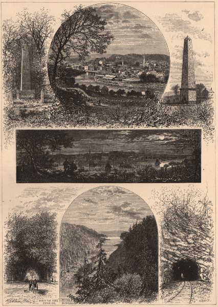 CONNECTICUT. New London and Norwich. Quinebaug river 1874 old antique print