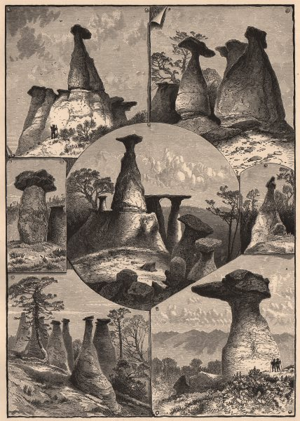 Associate Product COLORADO. Eroded Sandstones, Monument Park. Rocky Mountains 1874 old print