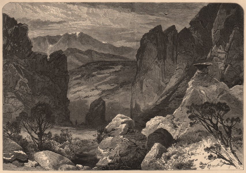 COLORADO. Pike's peak, from Garden of the Gods. Rocky Mountains 1874 old print