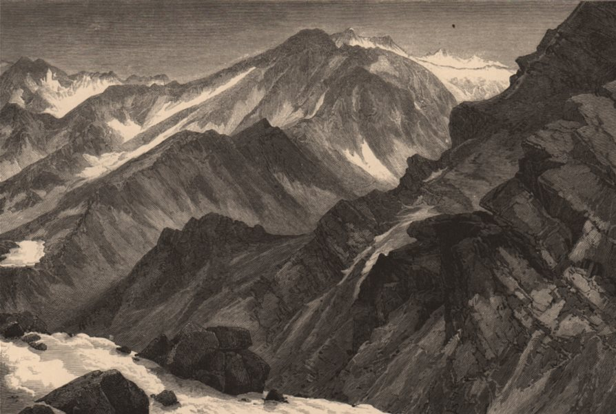 Associate Product COLORADO. Snow-Mass Mountain. Rocky Mountains 1874 old antique print picture
