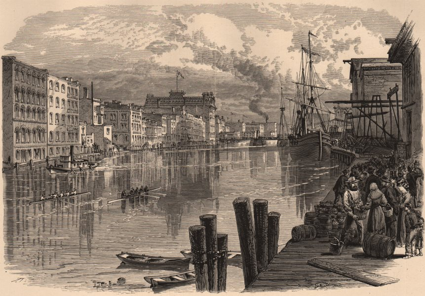 Associate Product WISCONSIN. Milwaukee River at Milwaukee 1874 old antique vintage print picture