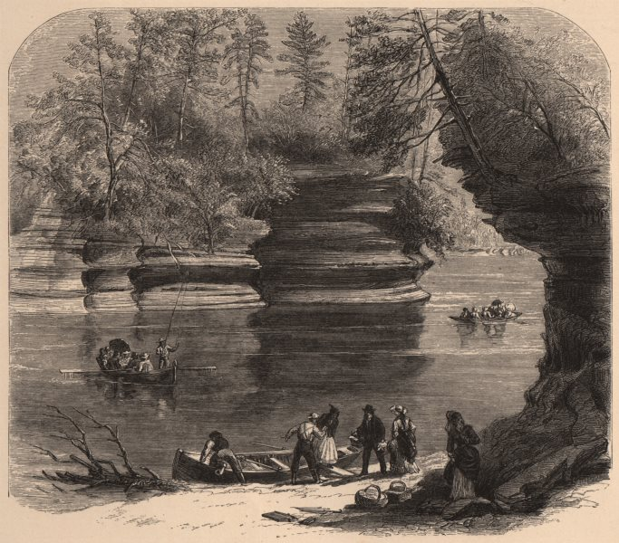WISCONSIN. Steamboat Rock, Wisconsin River 1874 old antique print picture
