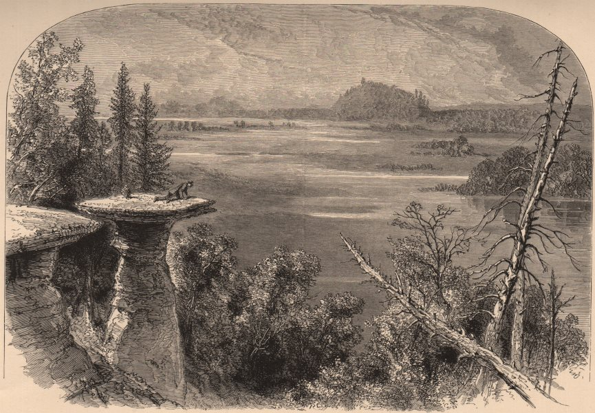 Associate Product WISCONSIN. Stand Rock, on the Wisconsin River 1874 old antique print picture