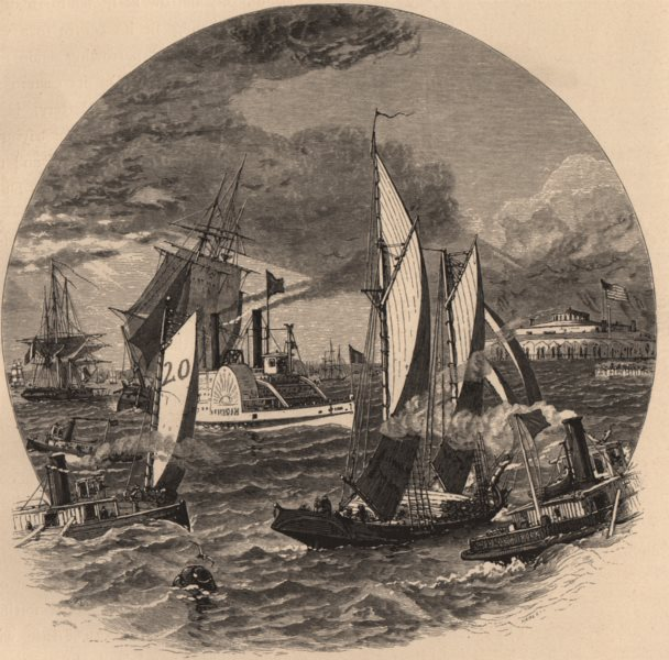 Associate Product NEW YORK CITY. New-York Bay. Paddle steamer. Sailing ships.  1874 old print