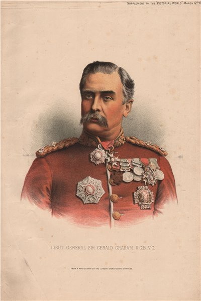 Lieut General Sir Gerald Graham, K.C.B., V.C 1885 old antique print picture
