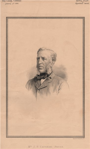 Associate Product Mr. J.P. Vaughan Pryse 1886 old antique vintage print picture