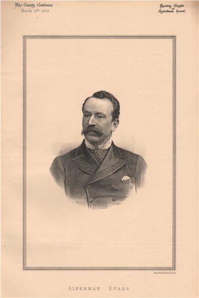 Associate Product Alderman Evans 1888 old antique vintage print picture