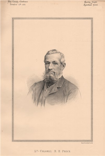 Associate Product Lt.- Colonel R.H. Price 1888 old antique vintage print picture