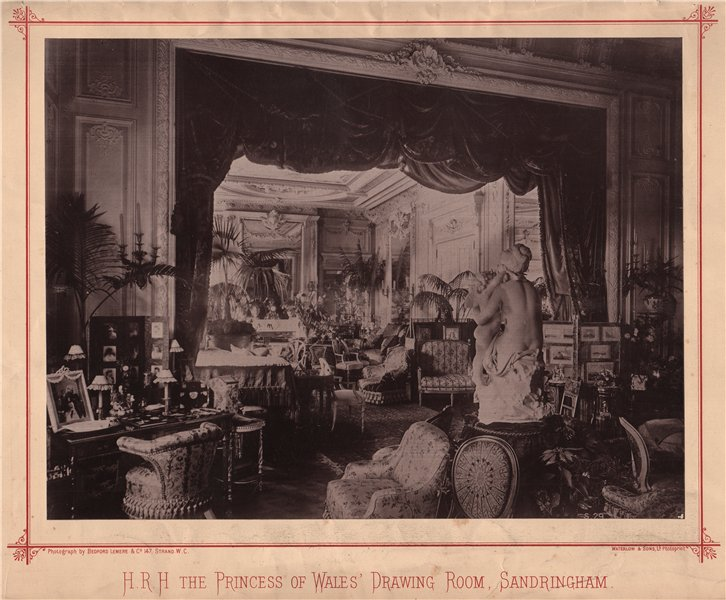 Associate Product H.R.H. The Princess of Wales' drawing room, Sandringham 1889 old antique print