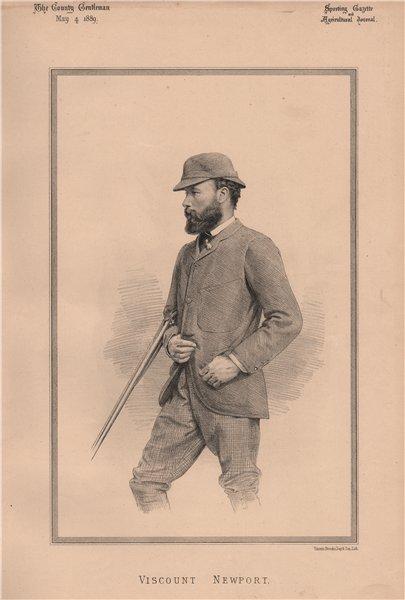 Viscount Newport 1889 old antique vintage print picture