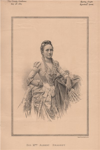 Associate Product Hon. Mrs. Albert Brassey 1889 old antique vintage print picture