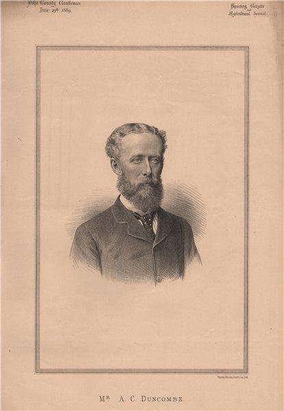 Mr. A.C. Duncombe 1889 old antique vintage print picture