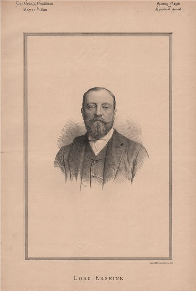 Associate Product Lord Erskine 1890 old antique vintage print picture