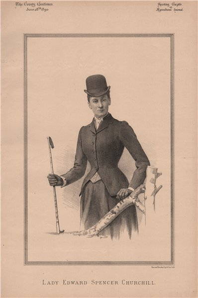 Associate Product Lady Edward Spencer Churchill 1890 old antique vintage print picture