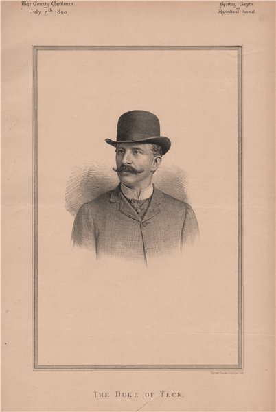 The Duke of Teck 1890 old antique vintage print picture