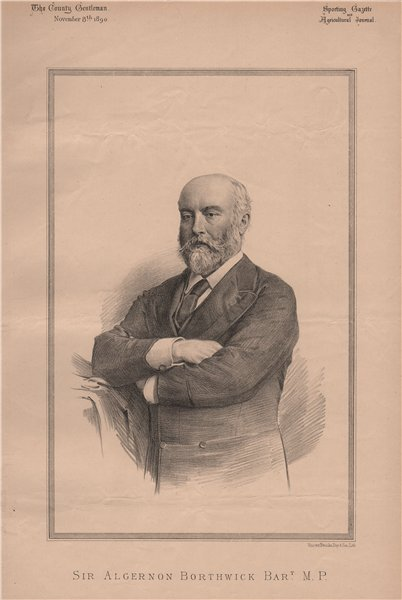 Sir Algernon Borthwick Bart. M.P 1890 old antique vintage print picture