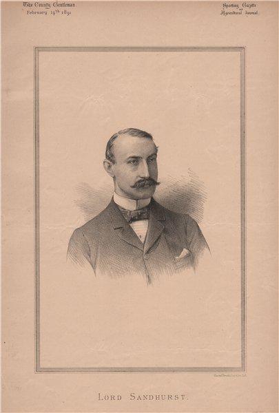 Associate Product Lord  Sandhurst 1891 old antique vintage print picture