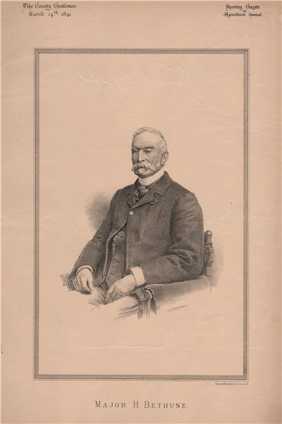 Associate Product Major H. Bethune 1891 old antique vintage print picture