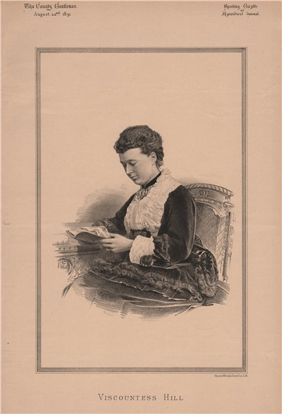 Associate Product Viscountess Hill 1891 old antique vintage print picture