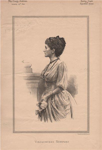 Viscountess Newport 1892 old antique vintage print picture