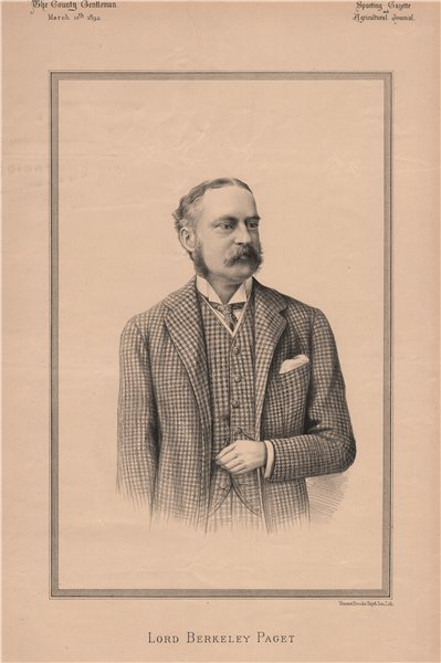 Associate Product Lord Berkeley Paget 1892 old antique vintage print picture