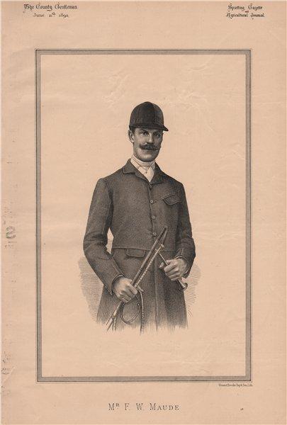 Mr. F.W. Maude 1892 old antique vintage print picture