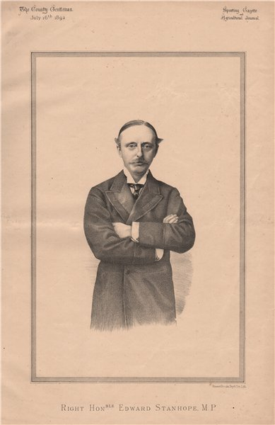 Associate Product Right Honourable Edward Stanhope MP 1892 old antique vintage print picture