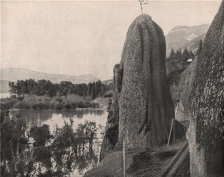 Associate Product Pillar of Hercules, Columbia River, Oregon 1895 old antique print picture