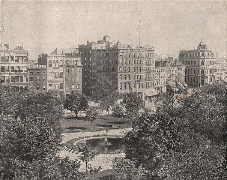 Associate Product Union Square, New York City 1895 old antique vintage print picture