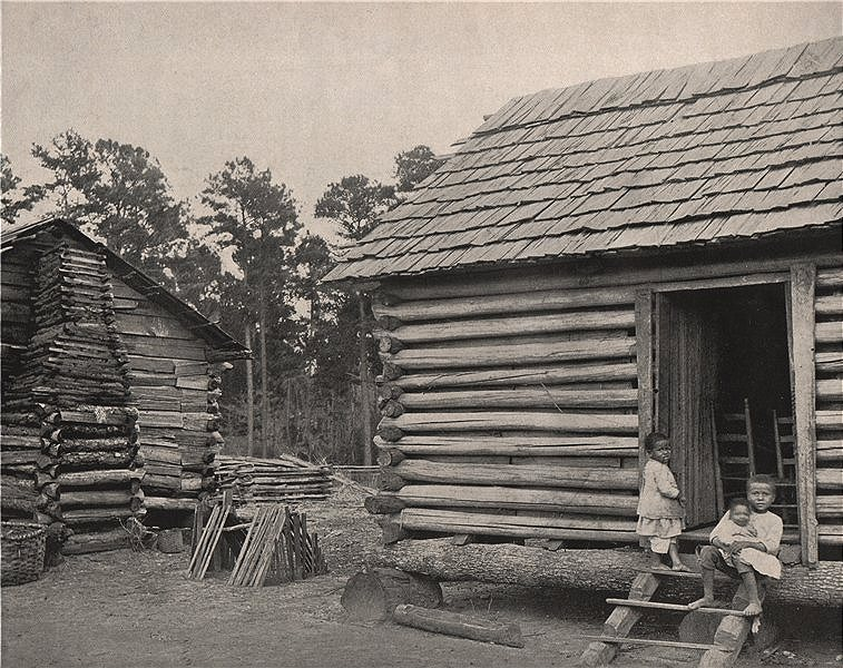 Associate Product Negro huts, Thomasville, Georgia 1895 old antique vintage print picture