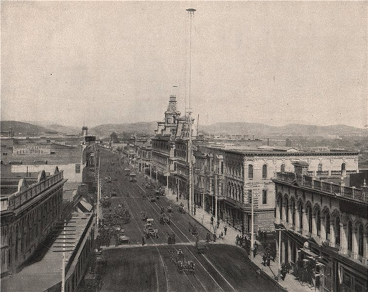Associate Product Main Street, Los Angeles, California 1895 old antique vintage print picture