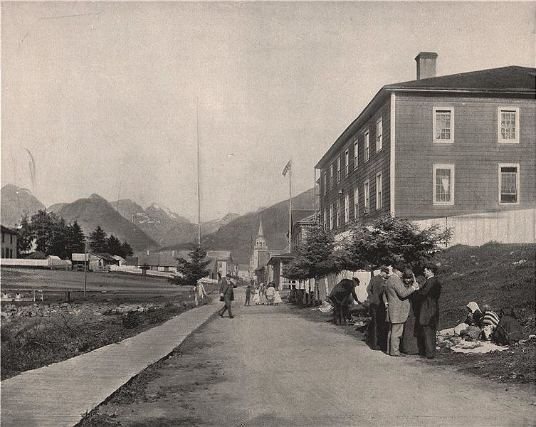 Associate Product A street view, Sitka, Alaska 1895 old antique vintage print picture