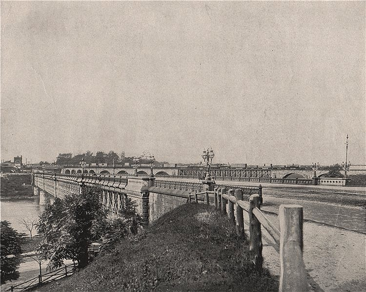 Associate Product Girard Avenue Bridge, Philadelphia, Pennsylvania 1895 old antique print