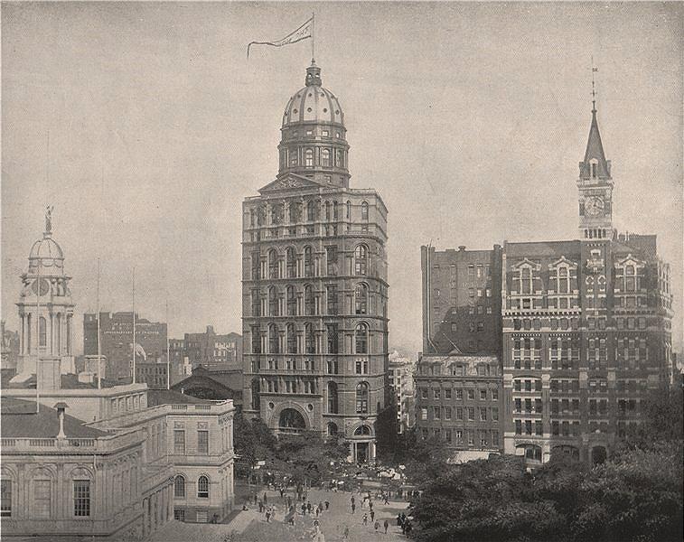 Associate Product Printing House Square, New York. City Hall, NY World & NY Tribune Buildings 1895